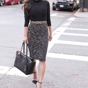 Knit Tweed Pencil Skirt